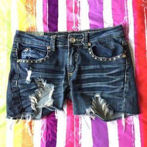 Machine distressed denim Shorts Size 29